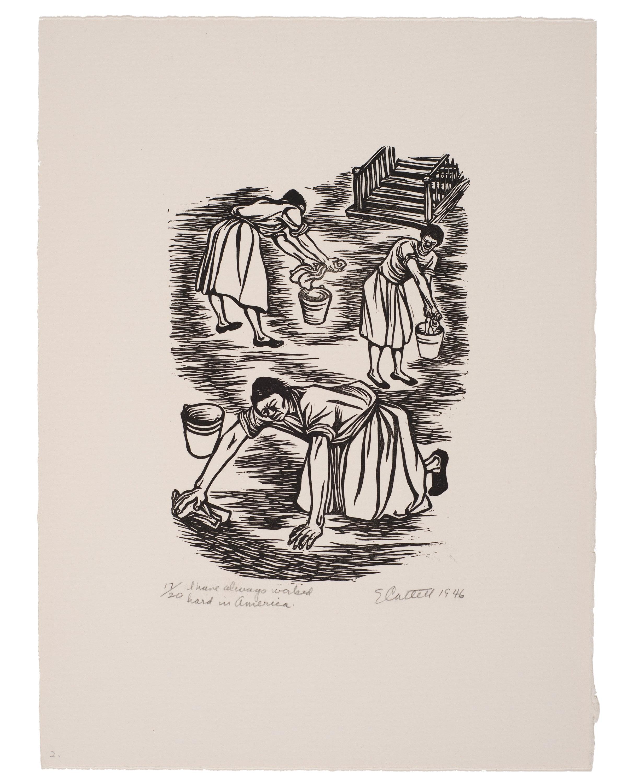 I have always worked hard in America Linoleum cut print