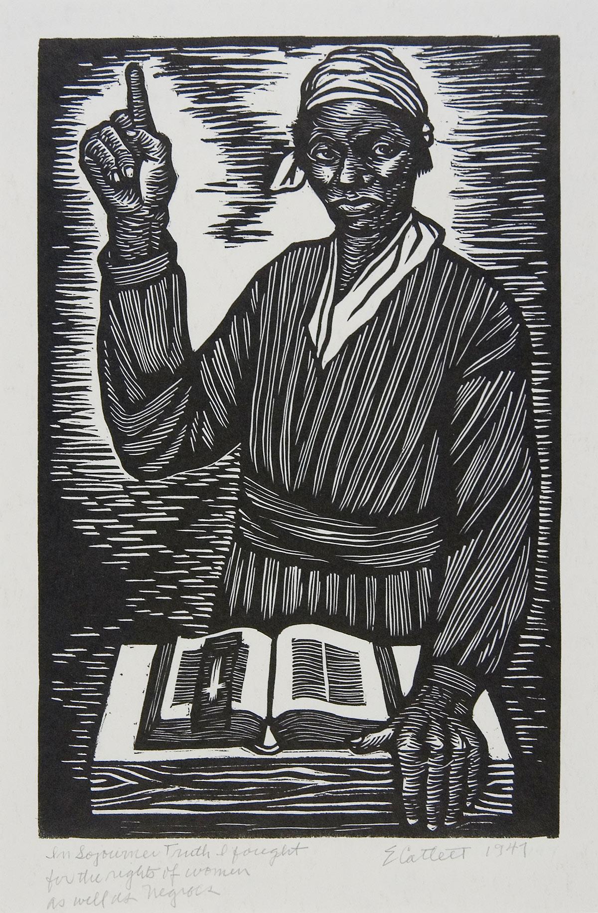 In Sojourner Truth Linoleum block print