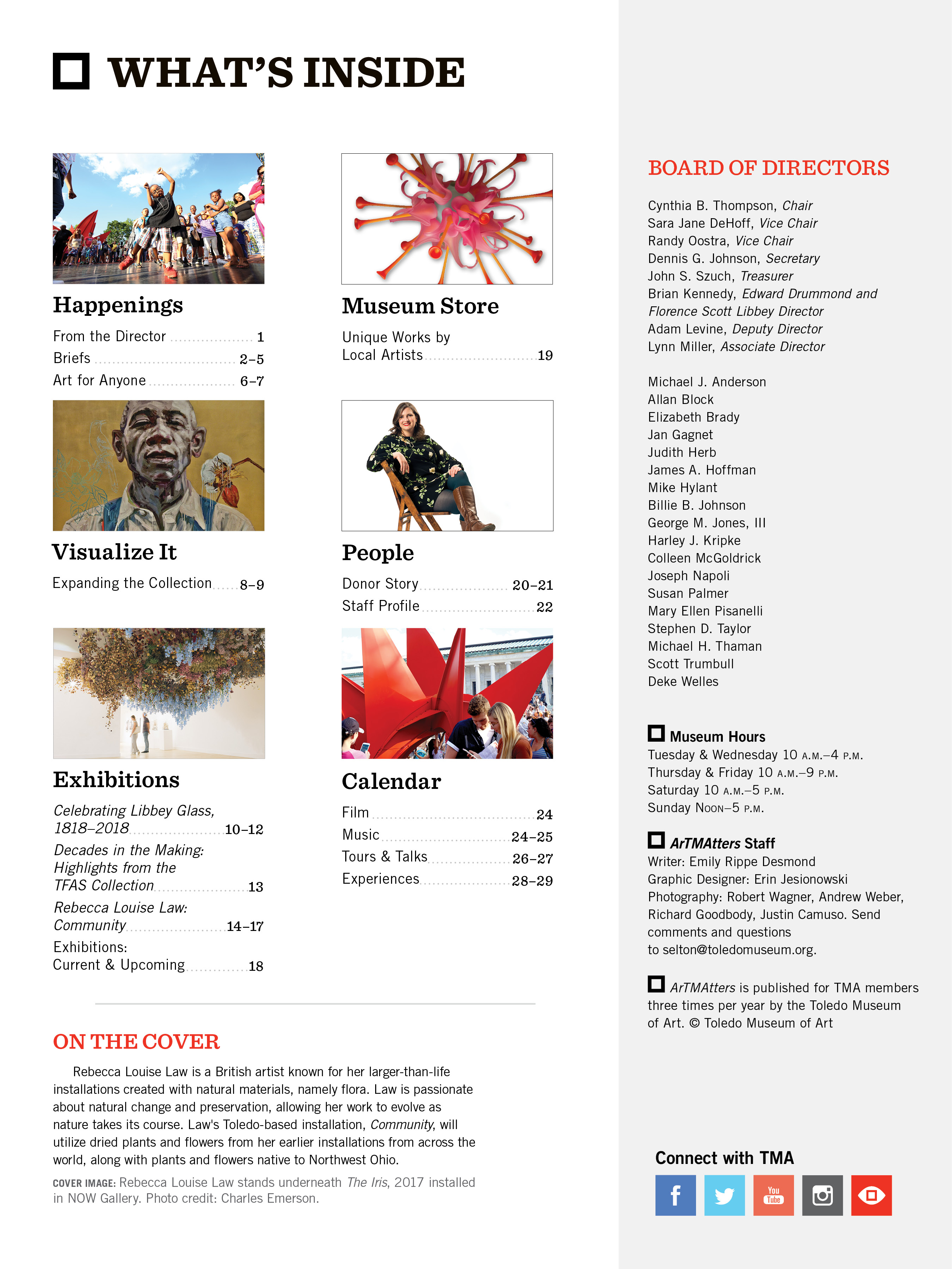 Inside cover and table of contents for the 2018 May-August Art Matters Magazine