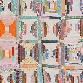 artwork title: Gees Bend Housetop Log Cabin Sixteen Block Variation