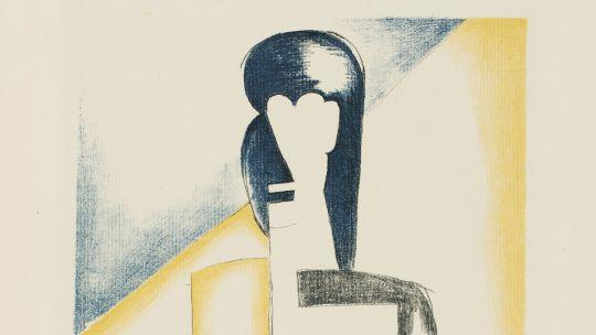 Natalia Sergeevna Goncharova (Russian, 1881-1962), Half-length Female Figure, from Bauhaus New European Graphics, Portfolio IV: Italian and Russian Artists, 1922. Color lithograph. Toledo Museum of Art, Gift of Barbara Sunderman Hoerner, 1982.187