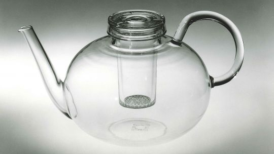 Wilhelm Wagenfeld (German, 1900-1990), Teapot, about 1930-34. Mold-blown, heat-resistant glass. Toledo Museum of Art, Museum Purchase, 1990.106a-c