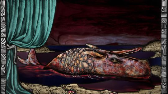 Judith Schaechter (American, born 1961), Beached Whale, 2018. Stained-glass panel, 27 x 40 in. Courtesy Claire Oliver Gallery, Harlem, and the artist