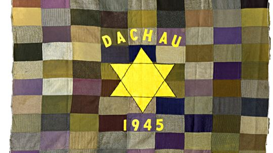 Unknown Maker, Dachau 1945, 1945, Wool, 69 1/2 x 77 in., Michigan State University Museum Collection, 2015:66.2. Image Credit: Courtesy of Michigan State University Museum. Photographed by Pearl Yee Wong