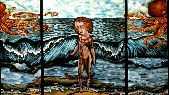 Judith Schaechter (American, born 1961), Dream of the Fisherman's Wife, 2004. Stained-glass panel, 32 x 48 in. Carnegie Museum of Art, Pittsburgh; Ailsa Mellon Bruce Fund, 2005.6