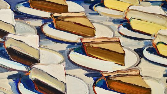 This is a painting featuring slices of pie on individual small plates.