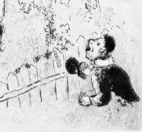 A black and white print of a woman standing among bushes being stared at by a man.