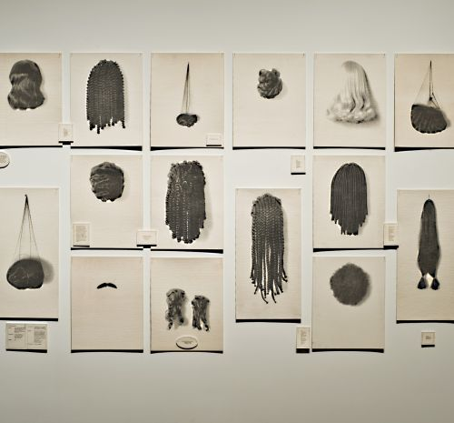 Lorna Simpson, Wigs, 1994. Portfolio of waterless lithographs on felt, 72 x 162 ½ in. (overall). Edition AP 1/5 from an edition of 15. Toledo Museum of Art, Gift of Mrs. Webster Plass and of Miss Elsie C. Mershon in memory of Edward C. Mershon, by exchang