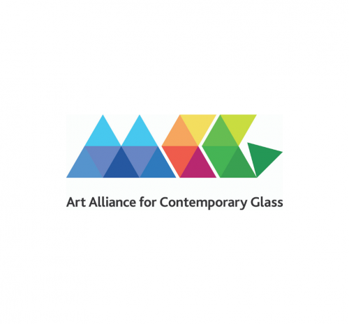 A series of colorful triangles are placed in a row with the words Art Alliance of Contemporary Glass underneath