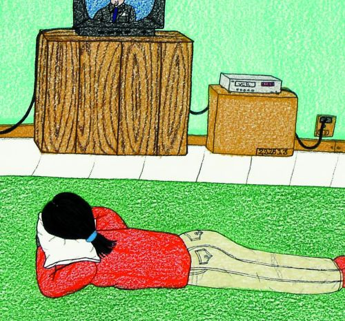 A drawing of a woman with black hair and wearing a red sweatshirt and white jeans lays on a green rug watching a small TV. Her head rests on a white pillow.