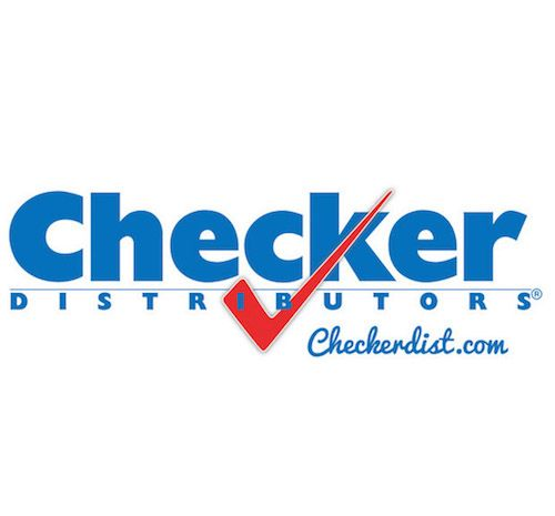 "The words ""Checker Distributors"" are written in blue on a white background."