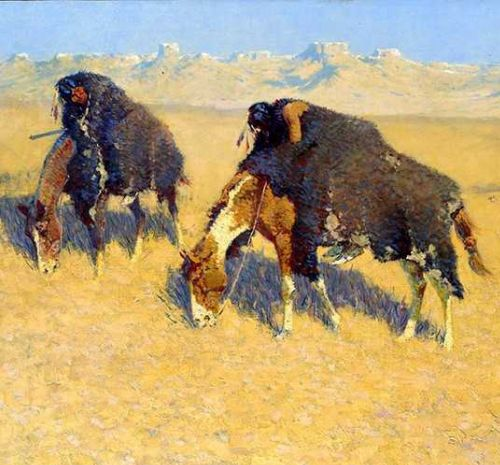 Frederic Remington (American, 1861-1909) Indians Simulating Buffalo. Oil on canvas, 1908. Gift of Florence Scott Libbey, 1912.1. Gallery 30B