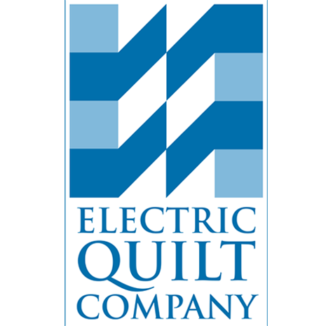 "The words ""Electric Quilt Company"" are written in blue and are placed under a blue and white square."