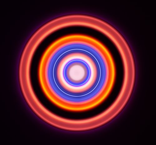 A series of circles in bright colors against a black background.