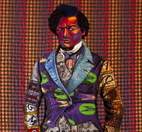 A quilt featuring a man wearing a suit made of different swatches of bright colored fabrics