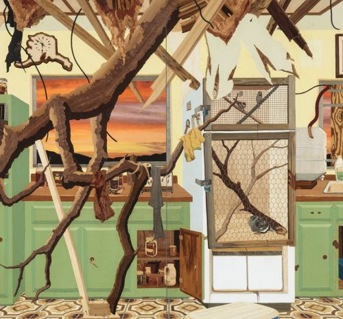 Alison Elizabeth Taylor (American, born 1973), Kitchen. Wood veneer, oil, acrylic, and shellac, 2014. 92 x 116 in. Purchased with funds given in memory of Larry Thompson by his children and grandchildren, 2014.22. Wolfe Gallery.