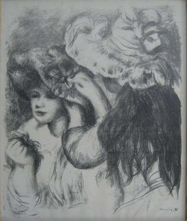 This black and white drawing features two young women. One has her back to the viewer and is wearing a large fancy hat. She has long dark hair in a ponytail. She is pinning a flower on the other woman's hat.