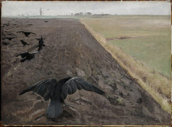 In this oil painting, a flock of large black birds are landing on a field that has just been ploughed.