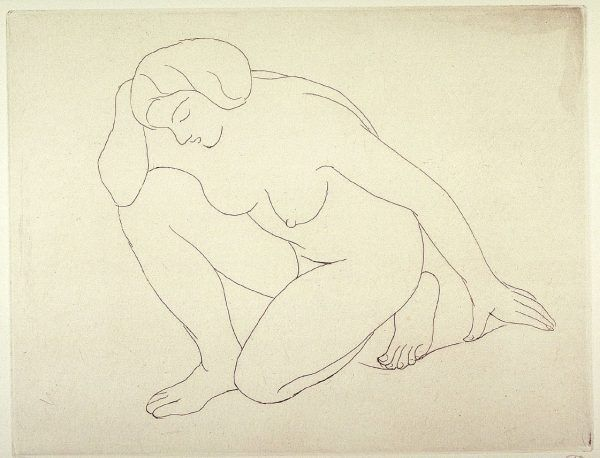 This drawing is of a women kneeling on her left knew and resting her right elbow on her right knew. It is a single line drawing on ivory colored paper.