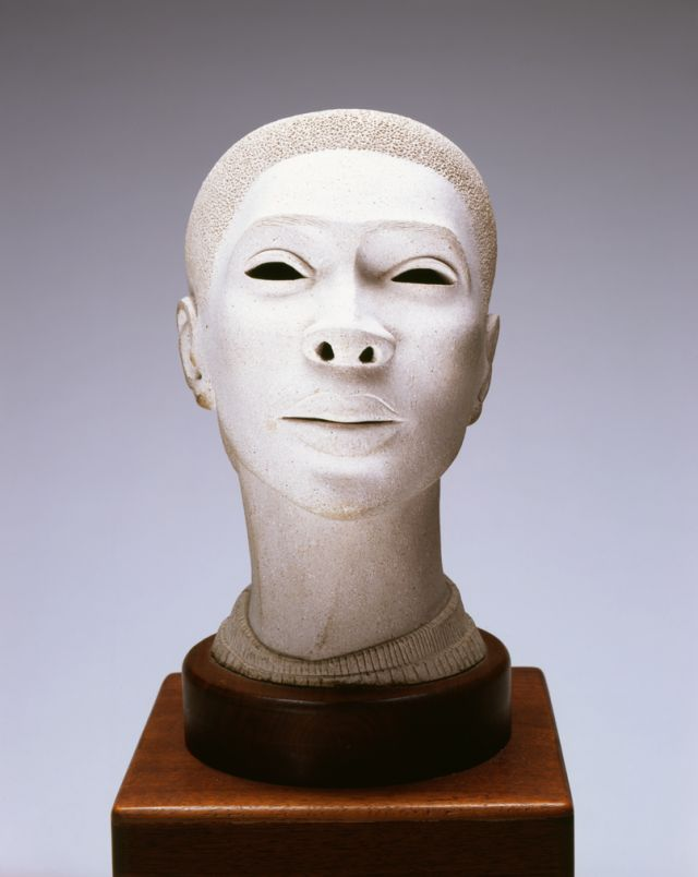 """Elizabeth Catlett (American, 1915-2012), """"Head of a Young Woman."""" Grit-tempered clay, about 1947. Gift of Florence Scott Libbey, by exchange, 2006.145"""