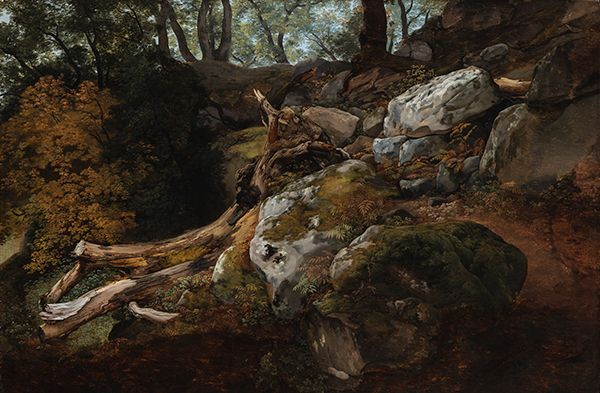 A vertical painting of the side of a hill with rocks and trees in various shades of green, brown, and gray