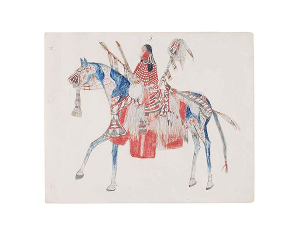 This is a drawing of a Native American dressed in red riding a horse that is blue and white.