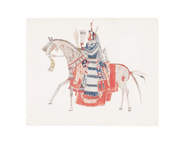This is a drawing of a Native American dressed in blue riding a horse that is red.