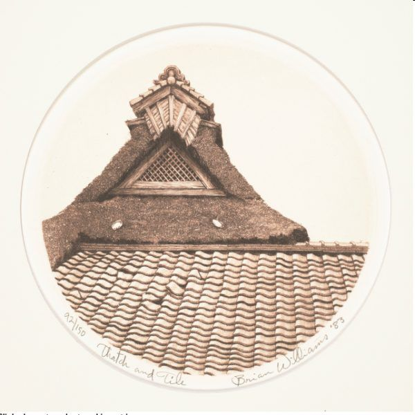 On this ivory-color paper is a circle. In that circle there is a close up of a building roof that is made of thatch and curved tile. The image is in various shades of red-brown.