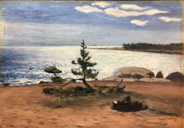 This is an image of a painting. In the foreground is a beach with an extinguished fire pit and a small pine tree. There are foot prints leading away from the fire pit. In the background is a view of the sea and a bright blue sky with six white clouds.