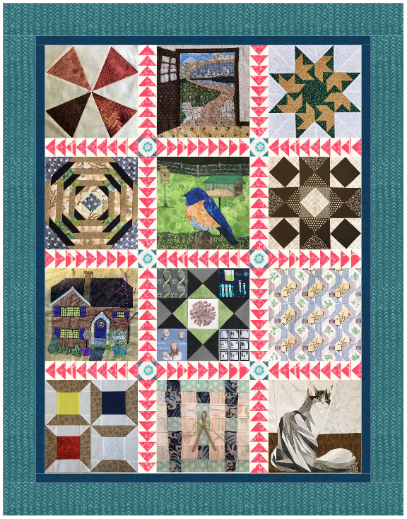 An image of 12 quilt squares stitched together with a turquoise fabric border.