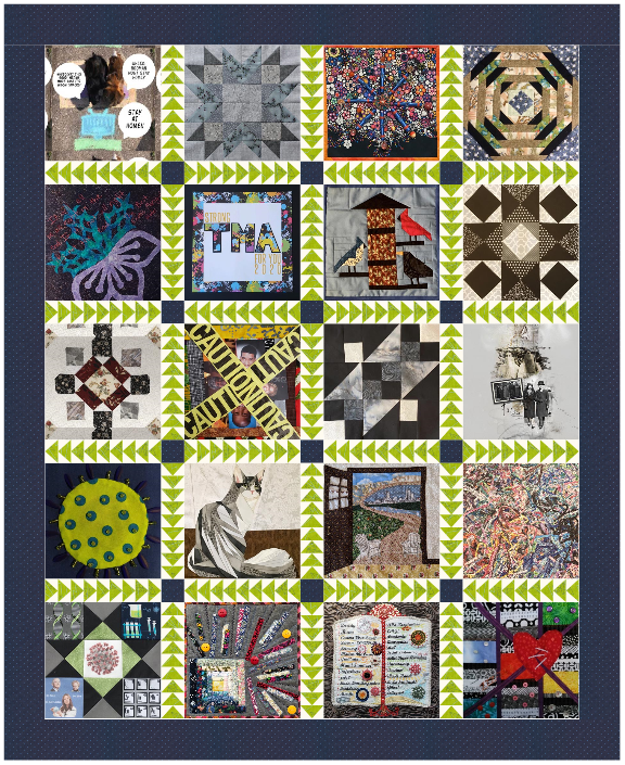 An image of 20 quilt squares stitched together with a dark gray fabric border.