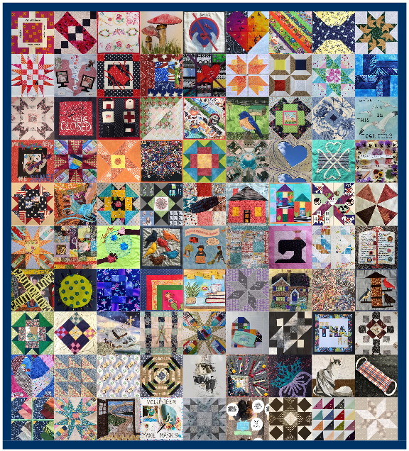 An image of 90 quilt squares of assorted colors and designs stitched together with a thin blue border.