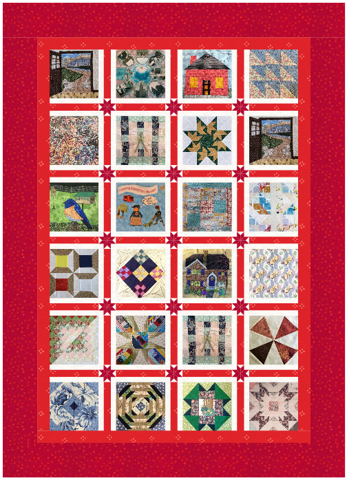 An image of 24 quilt squares of various colors and designs stitched together and surrounded with wide red border.