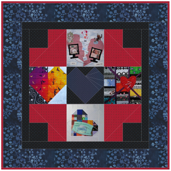 An image of nine quilt squares of various colors and designs stitched together with a purple and blue border.