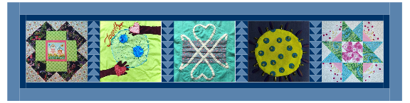 Five quilt squares are stitched together in a single row. A light blue fabric border surrounds the squares.