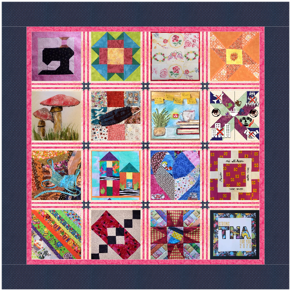 Twelve quilt squares of assorted colors and designs are stitched together to form a quilt. The quilt has a purple gray border.