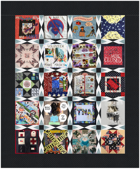 Twenty quilt squares are stitched together to form a vertical rectangle and are surrounded by a dark gray border.
