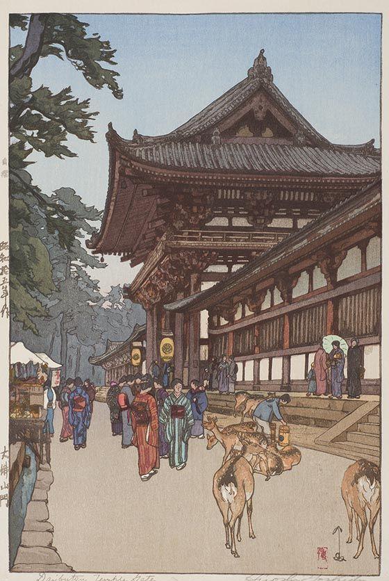 Hiroshi Yoshida Japanese 1876 1950 Daibutsu Temple Gate Color Woodblock