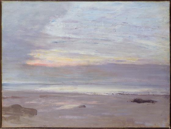 James Abbott McNeill Whistler (American, 1834–1903), Crepuscule in Opal, Trouville. Oil on canvas, 1865. 13 3/4 inches by 18 1/8 inches. Gift of Florence Scott Libbey, 1923.20. Gallery 30B