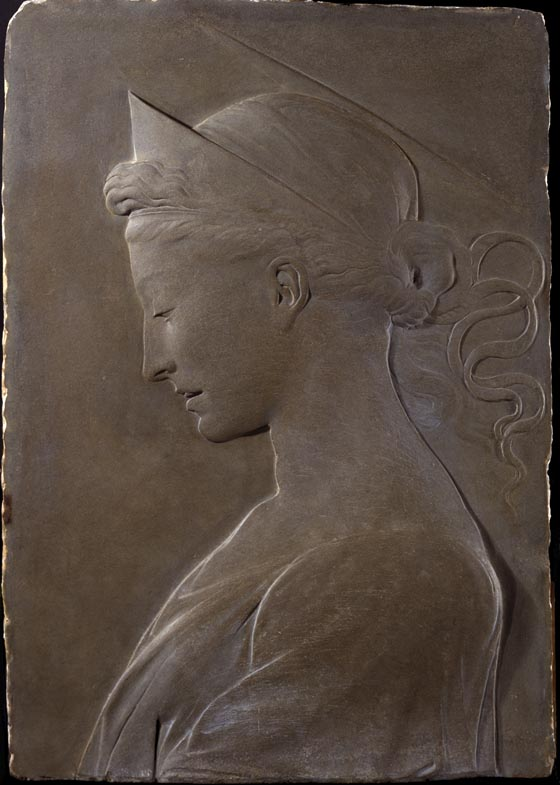 Attributed to Desiderio da Settignano (Italian, Florence, about 1429–1464), Saint Helena, Empress. Pietra serena (dark gray sandstone), about 1460–64. 22 ½ high by 15 inches wide. Purchased with funds from the Libbey Endowment, Gift of Edward Drummond Libbey, 1938.122. Gallery 19