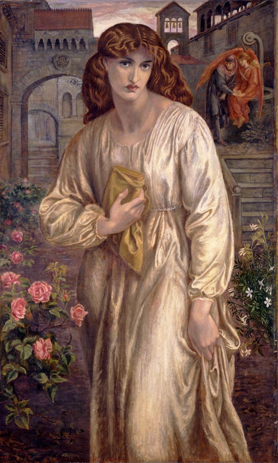 Dante Gabriel Rossetti (British, 1828–1882), The Salutation of Beatrice. Oil on canvas, 1880–82. 60 3/4 x 36 in. Purchased with funds form the Libbey Endowment, Gift of Edward Drummond Libbey, 1960.8. Gallery 32