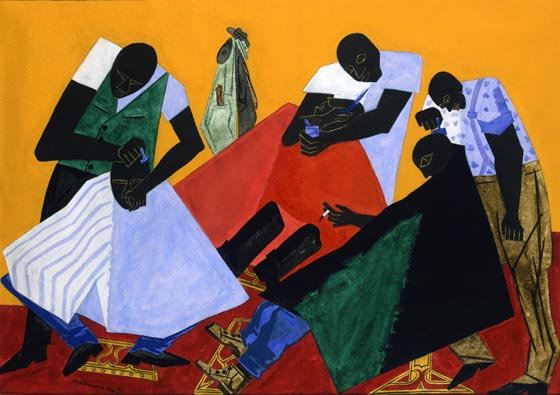 Jacob Lawrence (American, 1917–2000), Barber Shop. Gouache on paper, 1946. 21 1/8 x 29 3/8 in. Purchased with funds from the Libbey Endowment, Gift of Edward Drummond Libbey, 1975.15. Gallery 6