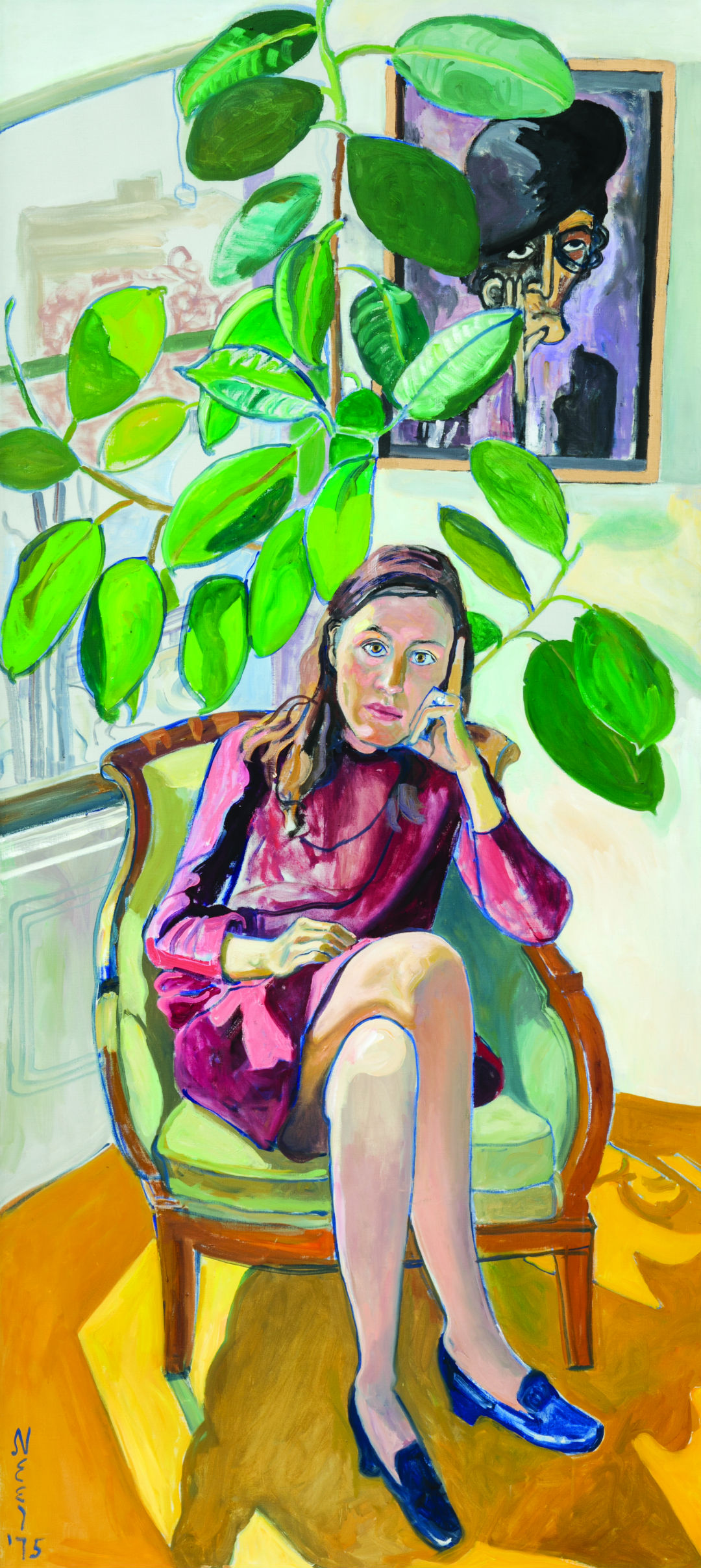 Alice Neel (American, 1900–1984), Nancy and the Rubber Plant. Oil on canvas, 1975. 80 x 36 in. Purchased with funds from the Libbey Endowment, Toledo Museum of Art, 2016.8. Gallery 4