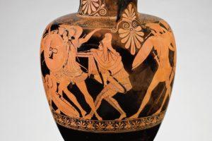 Greek, Attic, attributed to the Berlin Painter, <em>Red-figure neck-amphora with ridged</em><em>handles: Amazonomachy with Herakles</em> (detail), about 490–480 B.C.Antikenmuseum Basel und Sammlung Ludwig