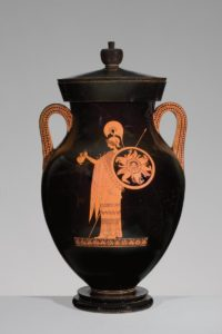 Greek, Attic, attributed to the Berlin Painter, <em>Red-figure amphora of Type A: A. Athena; B. Herakles</em>, about 500–490 B.C. Antikenmuseum Basel und Sammlung Ludwig
